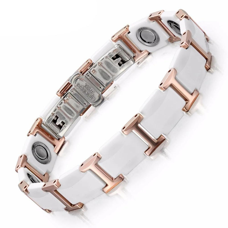 RainSo White Ceramic Tungsten Steel Magnetic Bracelets Bangles for Women Fashion Luxurious High Quality Healthy Healing Jewelry
