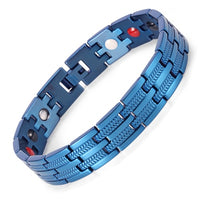 "Rainso Men Bracelet Healing 4 Elements Magnetic Stainless Steel Bracelets 8.5""OSB-689BLFIR With Blue Plating Hand Chain"
