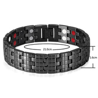 Rainso Men's Stainless Steel Bracelet Double Row 4 Elements Energy Power Link Bracelet Black Polished OSB-1044BFIR