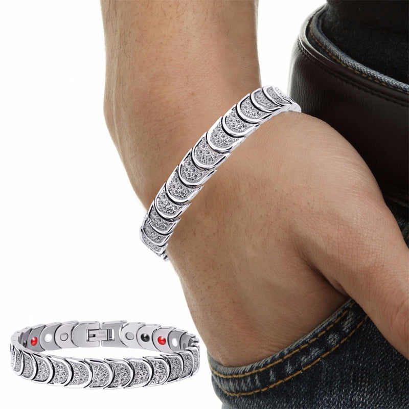 Rainso Silver Plated Stainless Steel 4 Elements Therapy High Strength Power Magnetic Bracelets for Men OSB-768SFIR