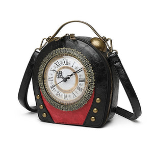 Real Clock Real Movement Women Bags Leather Patchwork Embroidery Handbags Girls Shoulder Bags Cross Body Messenger Bag Handmade