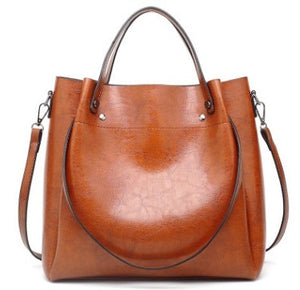 Retro Boston Women Genuine Leather Handbags Large Capacity Oil Wax Cow Leather Tote Bags Ladies Shoulder Messenger Bags New C874