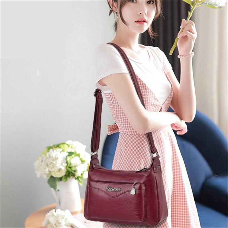 Retro Shoulder Bags for Women Soft PU Leather Messenger Bag Ladies Mother Half Moon Handbags Crossbody Multi-pocket Purse