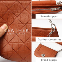 SC Fashion Brand Real Leather Shoulder Bag For Women Luxury Chain Quilted Design Small Flap Purse Female Crossbody Handbags Set