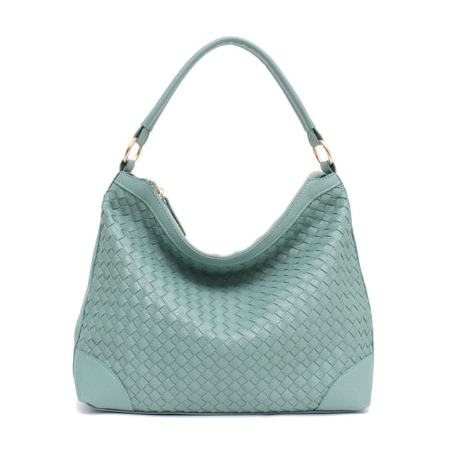 SC Fashion Luxury Faux Leather Handmade Woven Hobo Tote Bag High Quality Handbags Grace Color Women Shoulder Messenger bag