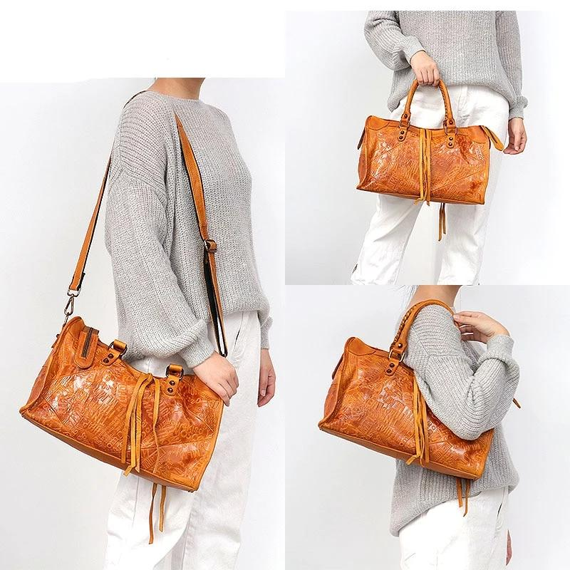 SC Large Women Leather Bags Female Retro Vintage Italian Leather Shoulder Tote Bag for Girls Large Capacity Luxury Designer