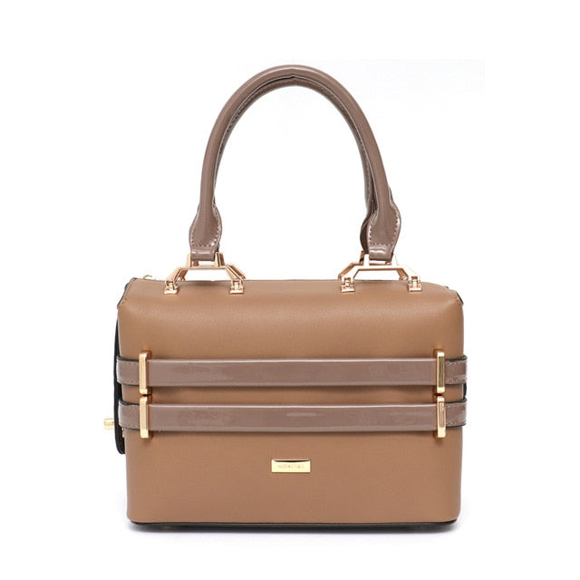 SC Metal Frame Women Fashion Vegan Leather Bag Small Designer Strip Metal Frame Tote Case Bag Party Purse Cross body Bag