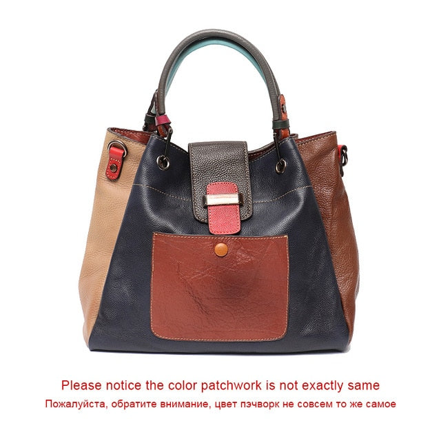 SC Retro Color Leather Patchwork Shoulder Bag Ladies Italian Leather Hobo Women Vintage Tote Female Crossbody&Messenger HandBag