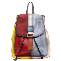 SC Vinatge Genuine Leather Backpack Women Random Color Leather Patchwork Shoulder Bag Girls Large Flap School Bag Femal knapsack