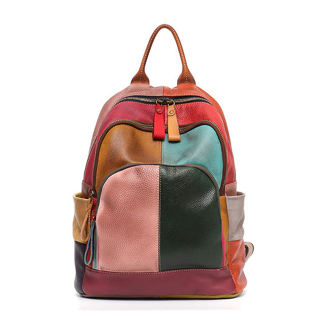 SC Vintage Leather Colorful Patchwork Backpack Women Zip Casual Shoulder Bags Genuine Leather Teenage School Knapsack Travel Bag