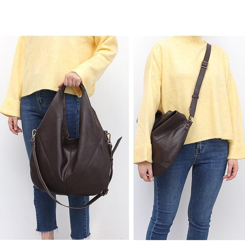 SC Women Luxury Genuine Leather Shoulder Bag 2020 Ladies Real Leather Casual Bucket Large Handbags Vintage Hobo Female Crossbody