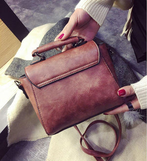 SMOOZA Vintage Leather Female Top-handle Bags  Small Women Handbag Casual Shoulder Bag  Lady High Quality Flap Bag