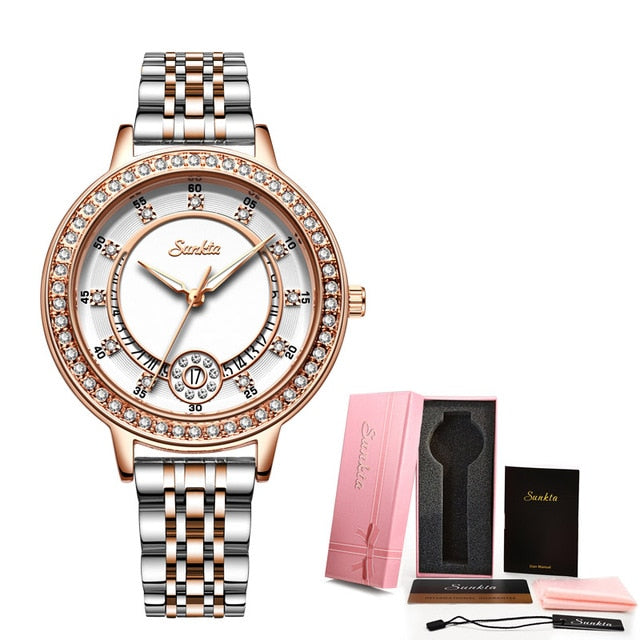 SUNKTA Women Watches Woman Dress Top Brand Luxury Gift Bracelet Watch Quartz Wrist Watches For Women Clocks Relogio Feminino+Box