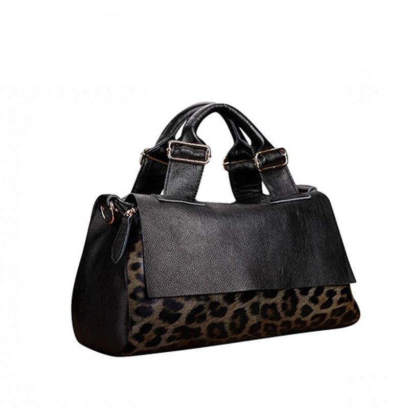 SUWERER 2020 New Women Genuine Leather bag fashion cowhide Leopard bag soft skin women handbags high quality tote bag