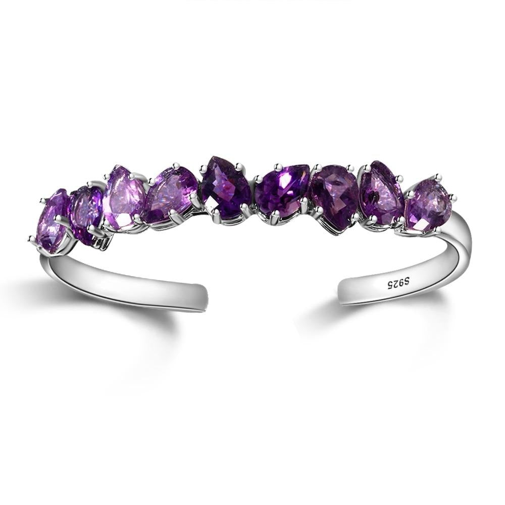 Silver Charm Natural Amethyst Bracelets Bangles For Women 925 Sterling Silver Jewelry Luxury Anniversary Engagement Party Gifts