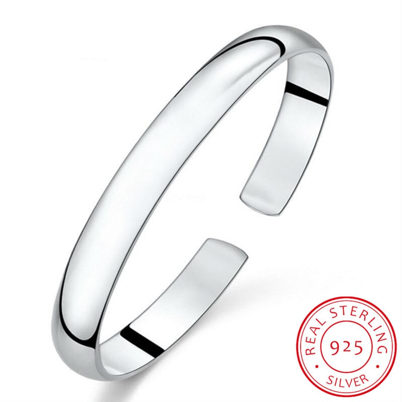 Simple Fashion 925 Sterling Silver Smooth Cuff Bracelets & Bangles For Women pulseras Valentine's Day present S-B61