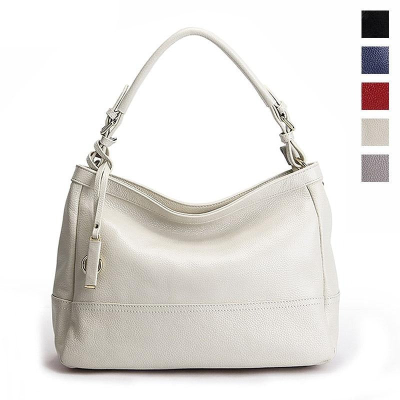 Soft Real Cow Genuine Leather Bag handbags women's shoulder bag purse off white black red hand bags women 2020 beige grey blue