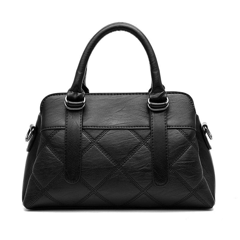 Spring new European and American mother bag check middle-aged women bag handbag soft leather messenger bag