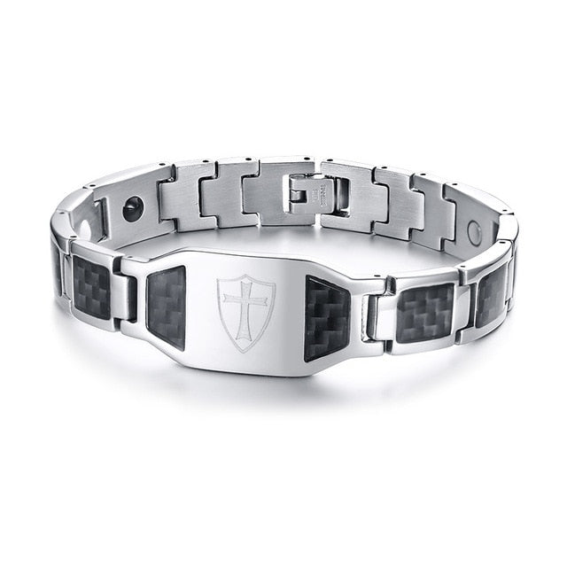 Stainless Steel Carbon Fiber Bangles Man Knights Templar Cross In Sliver Color Watch Brands Magnetic Health Thready Bracelet Men