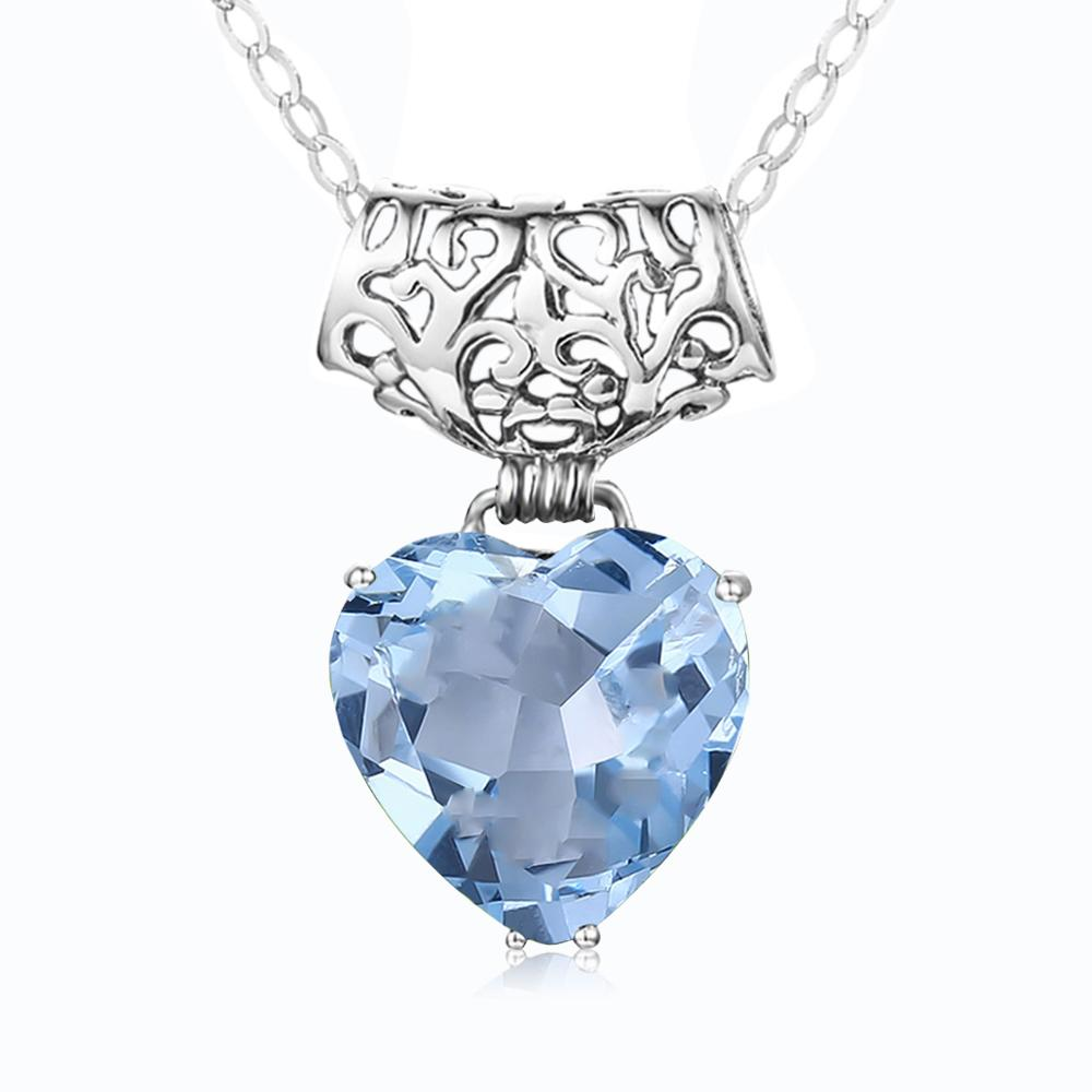 Szjinao Natural Blue Topaz Pendant Necklace 925 Sterling Silver Color For Women Heart Aquamarine Gemstone Pendants Jewelry Gift