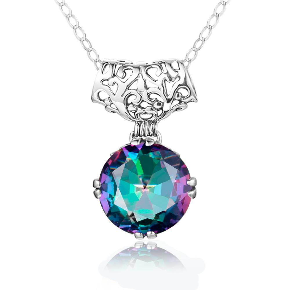 Szjinao Real 925 Sterling Silver Pendant For Women Big Gemstone Mystic Topaz Neo-Gothic Handmade Fine Jewelry Anniversary Gift