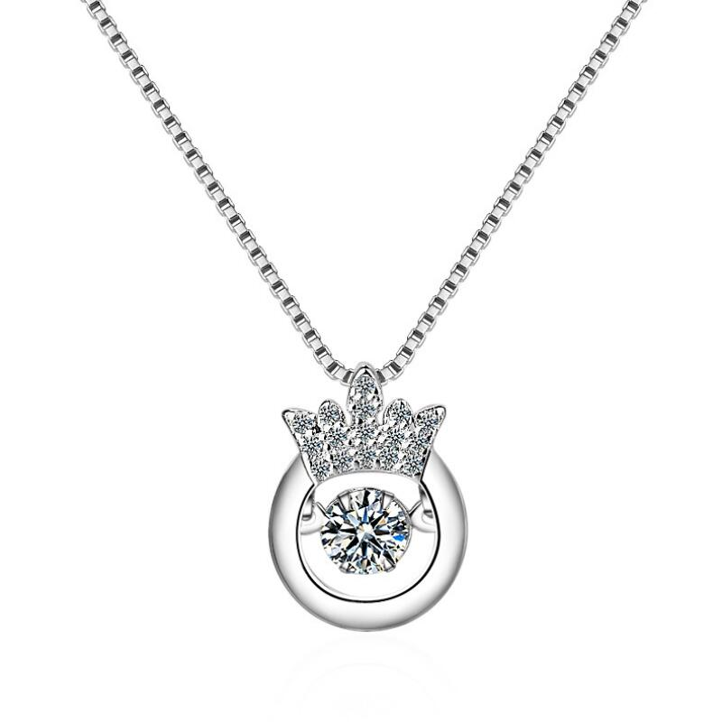 The Korean edition rotates the heart of the crown zircon dancing pendants necklace