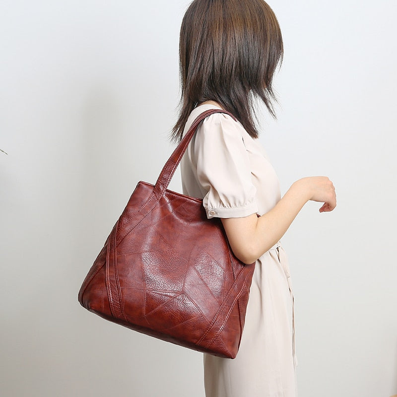Top-handle Shoulder Hand Bags for Women 2021 Luxury Handbags Designer Large Capacity Retro Soft Pu Leather High Quality Tote Bag