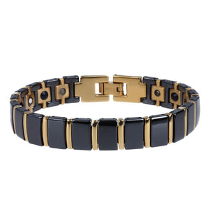 TrustyLan Healthy Magnetic Bracelet Men Luxury Black Ceramic & Gold Color Titanium Steel Men's Friendship Bracelets Mens Gift