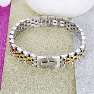 TrustyLan Luxury Stainless Steel Bracelet Men Golden Watchband Design Men's Bracelets & Bangles For Man Jewelry Gifts For Him