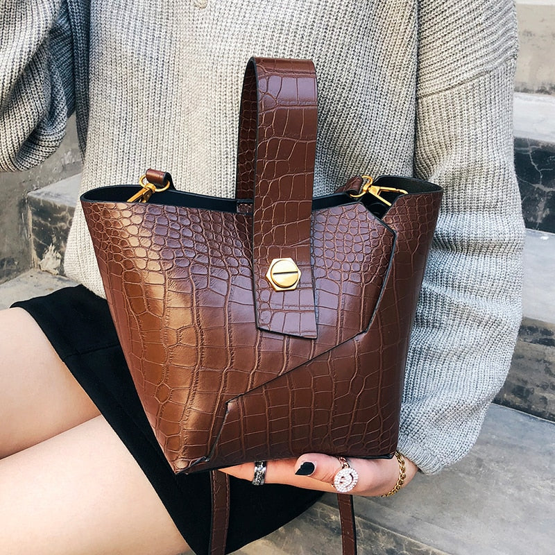 Vintage Fashion Female Tote bag 2019 New PU Leather Women's Designer Handbag Alligator Bucket bag Shoulder Messenger Bag X1-78