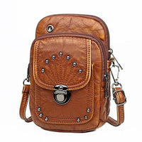Vintage Soft Leather Crossbody Bags Rivet PU Women Messenger Shoulder Bag Small Female Handbags Phone Purses Black and Brown