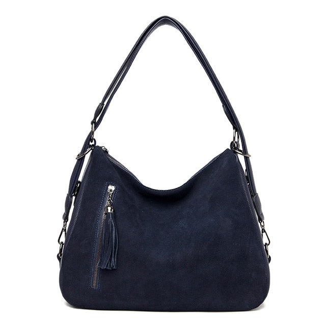 Vintage tassel Women's PU stitching suede leather shoulder bag female casual nubuck casual handbag Hobo Messenger bag handbag