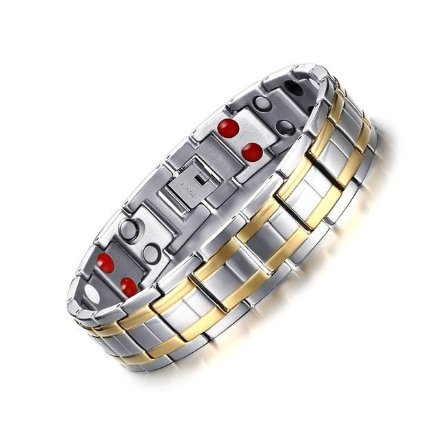 Vnox Stainless Steel Healthy Magnet Bracelet Men Jewelry Bio Energy Magnetotherapy Father's day Gift