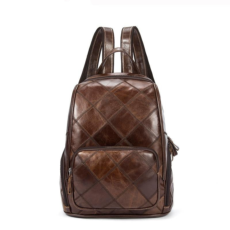 WESTAL Plaid Women Backpack Leather Backpacks for Teenagers Girls School Bag Female Shoulder Bag Lady Travel Laptop Backpack