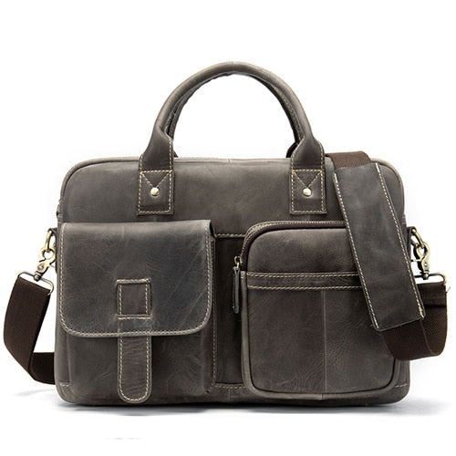 WESTAL men's briefcase men's bag genuine leather laptop bag leather totes briefcases for document A4 shoulder computer bags 8503
