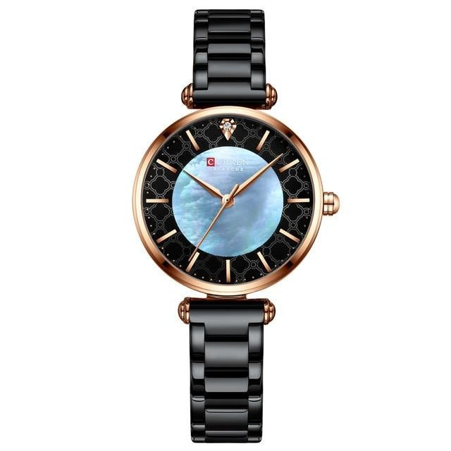 Watches for Women Luxury Brand CURREN Elegant Thin Quartz Wristwatch with Stainless Steel Simple Female Clock