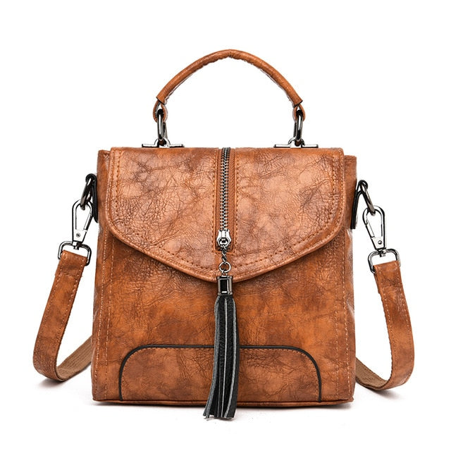 Women Backpack Tassel Vintage Shoulder Bag Leather Backpacks Female Multi-function School Bags for Girls mochilas mujer 2019
