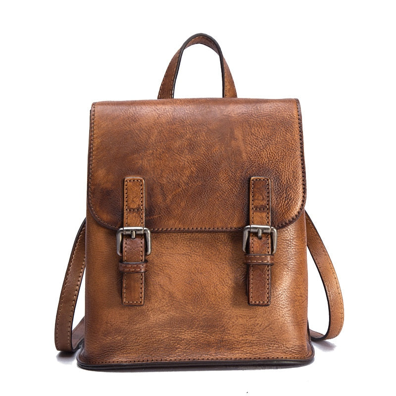 Women Backpack Travel Bag Daypack  Brush Color Large Capacity Knapsack Cowhide Vintage Genuine Leather Girls School Rucksack