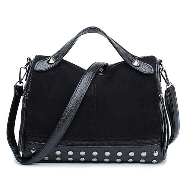 Women Lady Faux Leather Handbag Shoulder Messenger Bag CrossBody Bags Large Capacity Travel Rivet Matte Tote