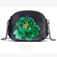 Women Messenger Shoulder Bag Purse Floral Pattern High Quality Vintage Style Genuine Leather Mini Peony Cross Body Shell Bags