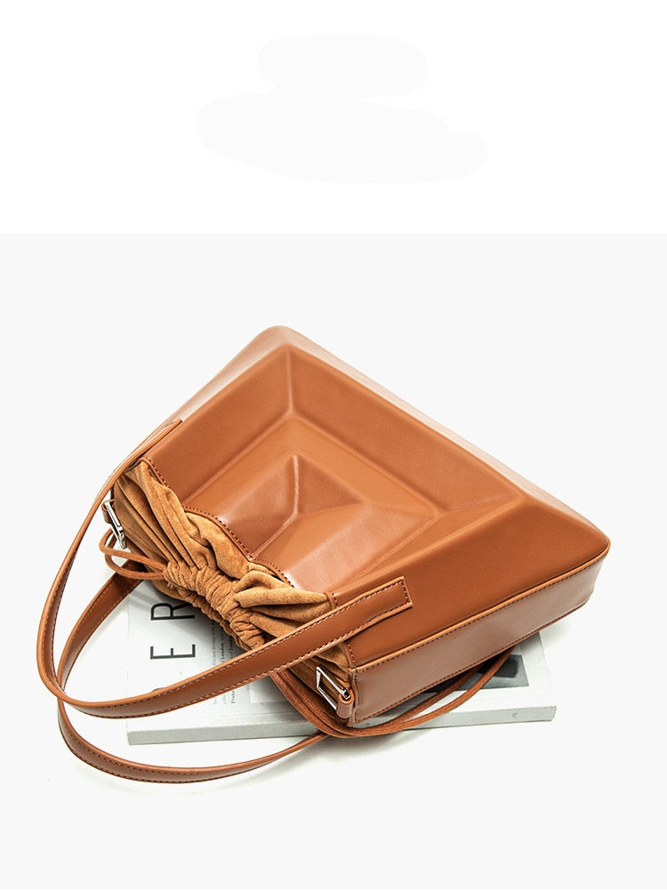 Women ruched SERA totes handbag 2020 spring summer new vintage crossbody bucket bag black white blue brown