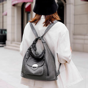 Women's bag large capacity soft PU leather handbag 2020 new Luxury and high quality trend ladies shoulder messenger bag gray