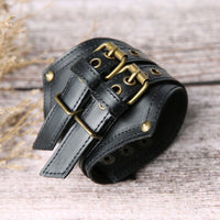 XINYAO 2019 Punk Ancient Gothic Mens  Black/Red Leather Arm Guard Wristband Medieval Knight Wrist Bracelet for Men F16567