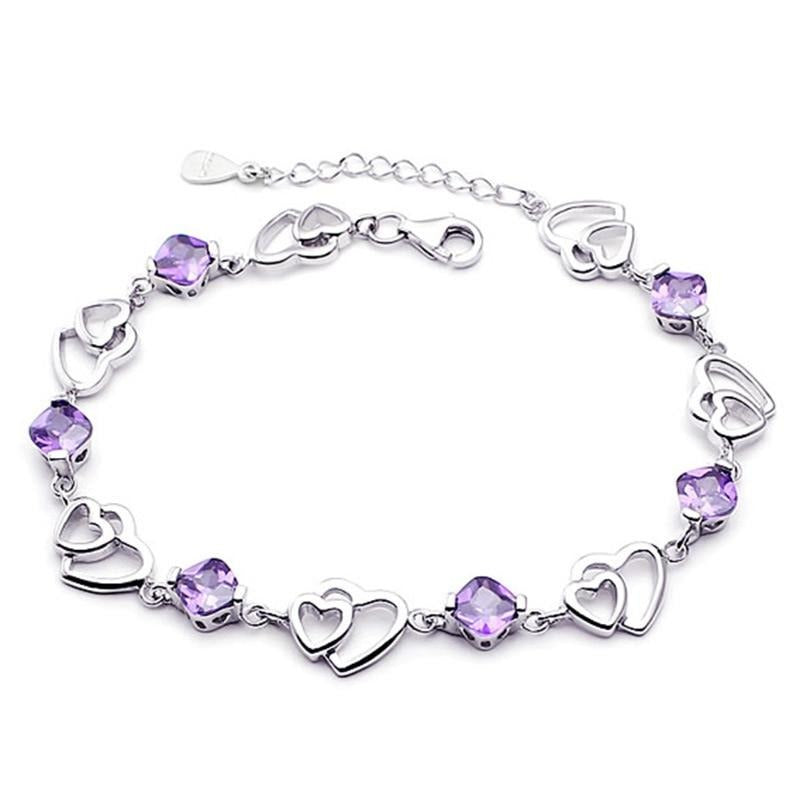 YINHED Romantic Double Heart Purple Crystal Bracelets 925 Sterling Silver Jewelry Bracelet for Women Valentine's Day Gift ZH076