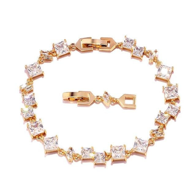 ZAKOL Exquisite Oval Zirconia Crystal Leaf Bracelet Bangles Shiny Rose Gold Color CZ Zircon Stone Jewelry For Girl Women FSBP134