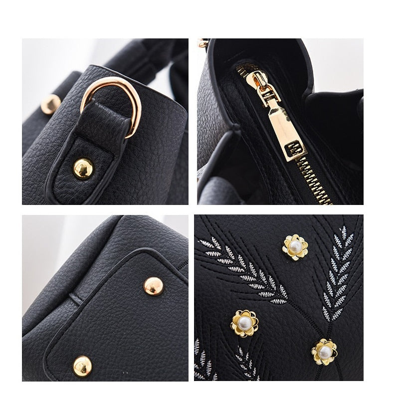 ZMQN Black Shoulder Bags For Girls Small Handbags Crossbody Bag Women Bucket Soft PU Leather Embroidery Ladies Hand Bags A582
