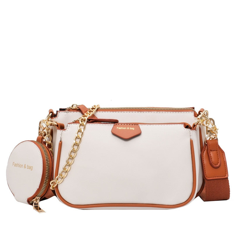 fashion chains women shoulder bags designer wide strap messenger bags luxury pu leather crossbody bag lady small purse 3 bag set