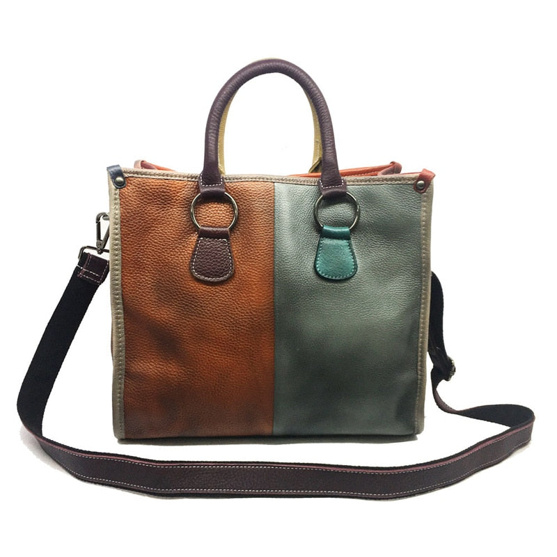 iPinee 100% Women's Vintage Genuine Leather Bag Female Wiping The Color Women Office Bags Business Bag Briefcase Handbags