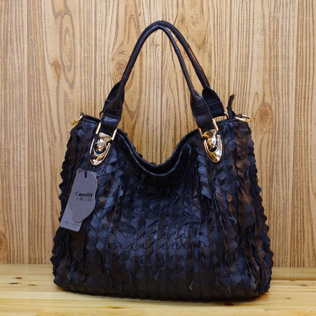 iPinee Fashion Handbags 2018 Luxury Patchwork Genuine Leather Bag Famous Brand Sheepskin Casual Women Shoulder Bag Women Bags