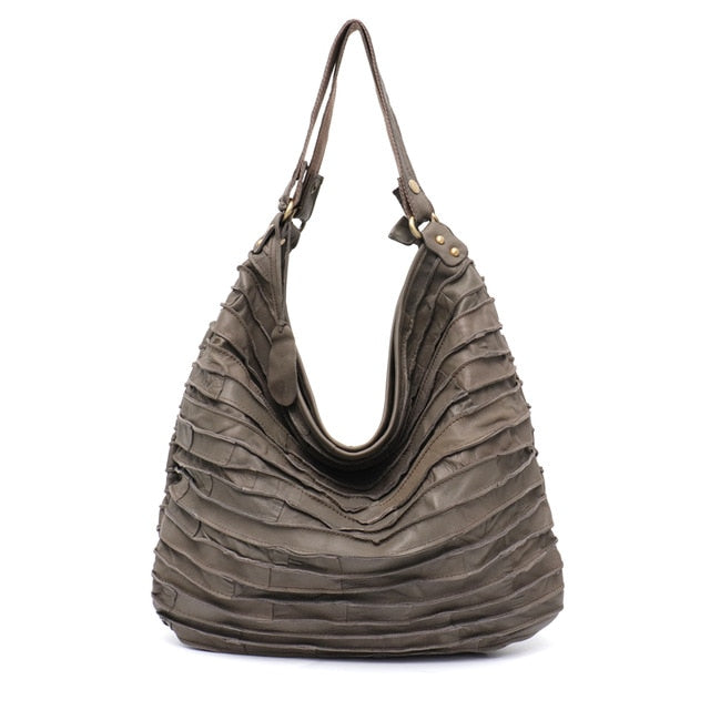 SC Real Leather Sheep Skin Stripe Hobo for Women Large Capacity Lady Shoulder Bag Casual Patchwork Genuine Leather Crossbody Bag